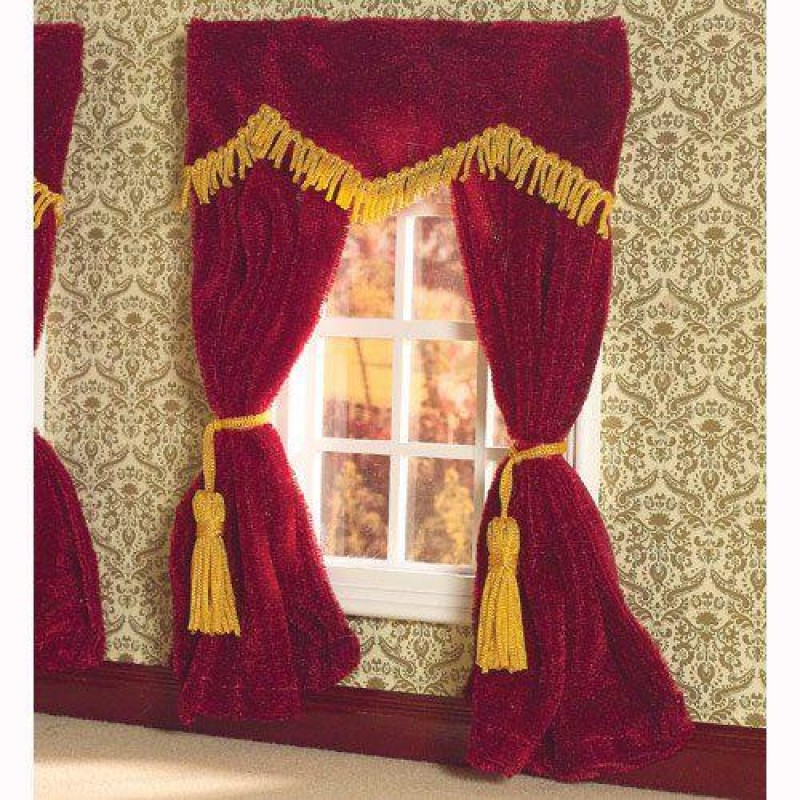 Red Velvet Curtains 182 x 137mm