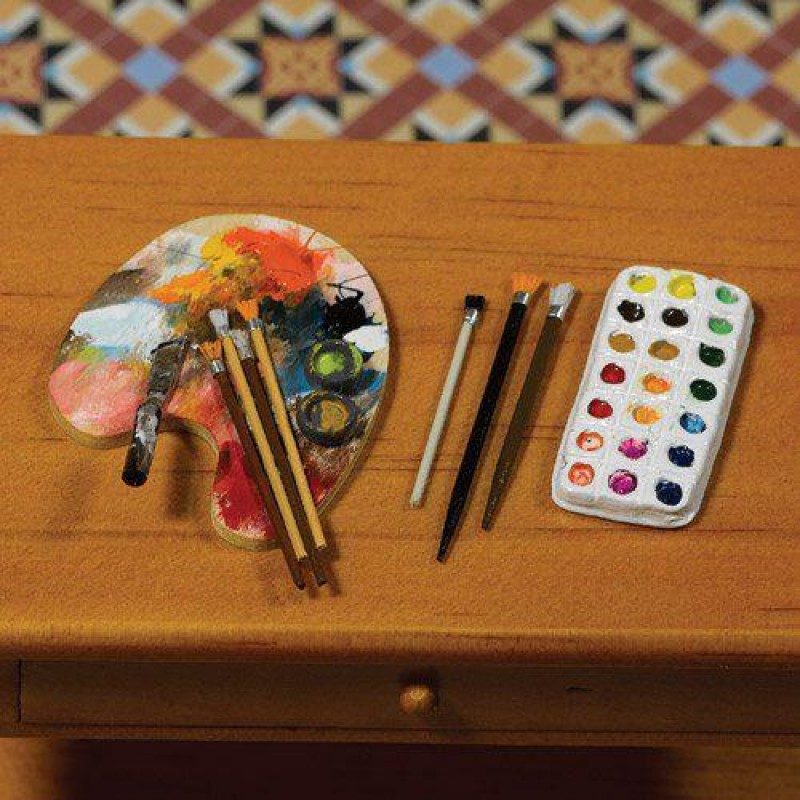 Artists Palette, Brushes and Paints, 5 pcs
