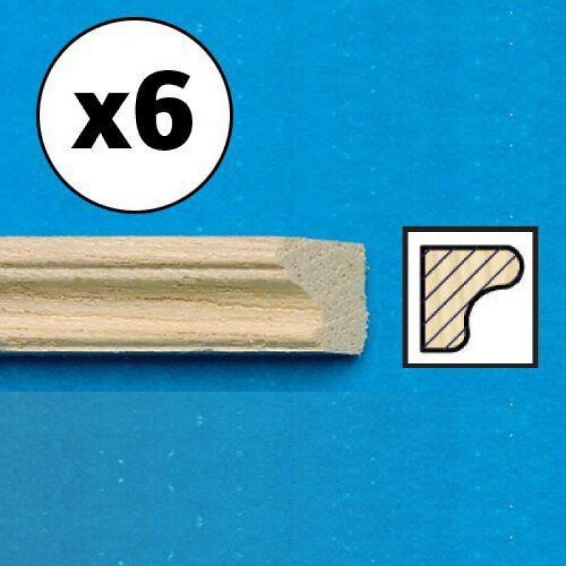 Unvarnished Lightwood Picture Rail, mitred, 6 pieces 450 x 5 x 4mm