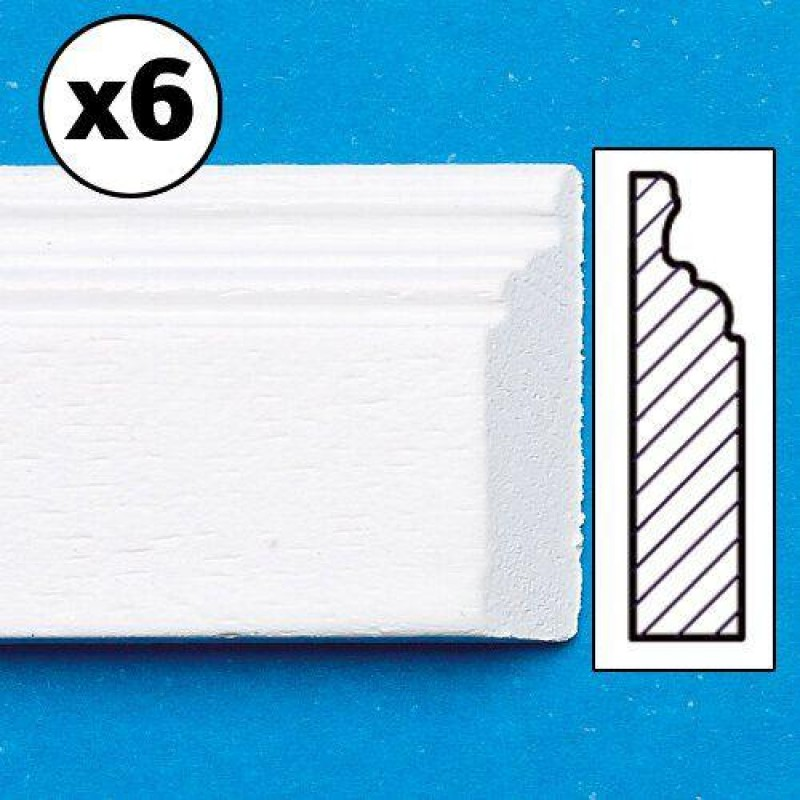 White Painted Skirting Board, mitred, 6 pieces 450 x 16 x 3mm