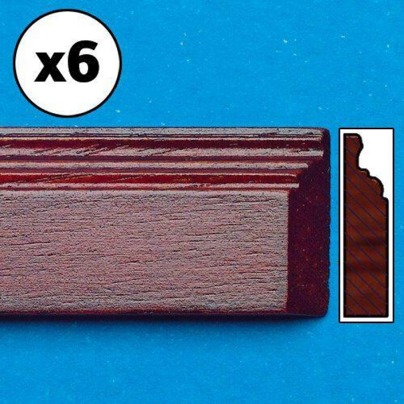 Mahogany-Coloured Skirting board, mitred, 6 pieces 450 x 16 x 3mm