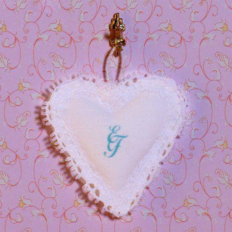Lace Heart Cushion with Initials E & F.