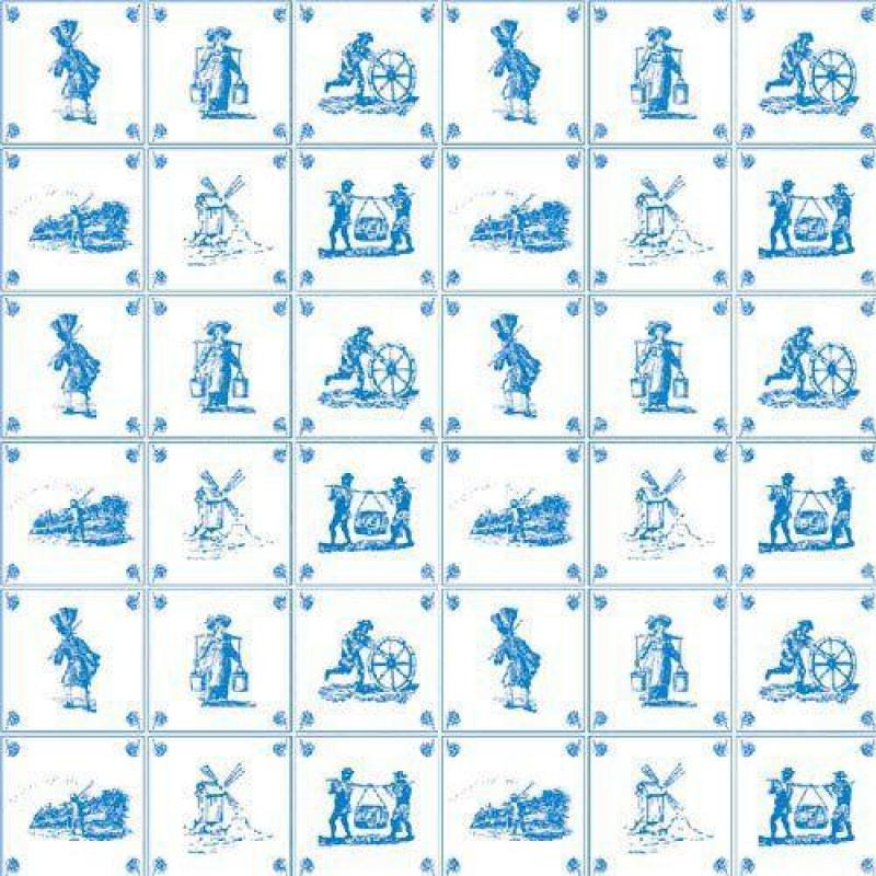 Blue Delft Tile Wallpaper 430 x 600mm