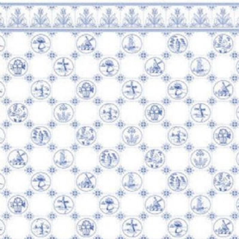 Dutch Tile Blue Wallpaper