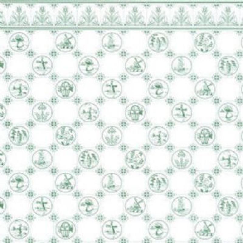 Dutch Tile Green Wallpaper 1/24th