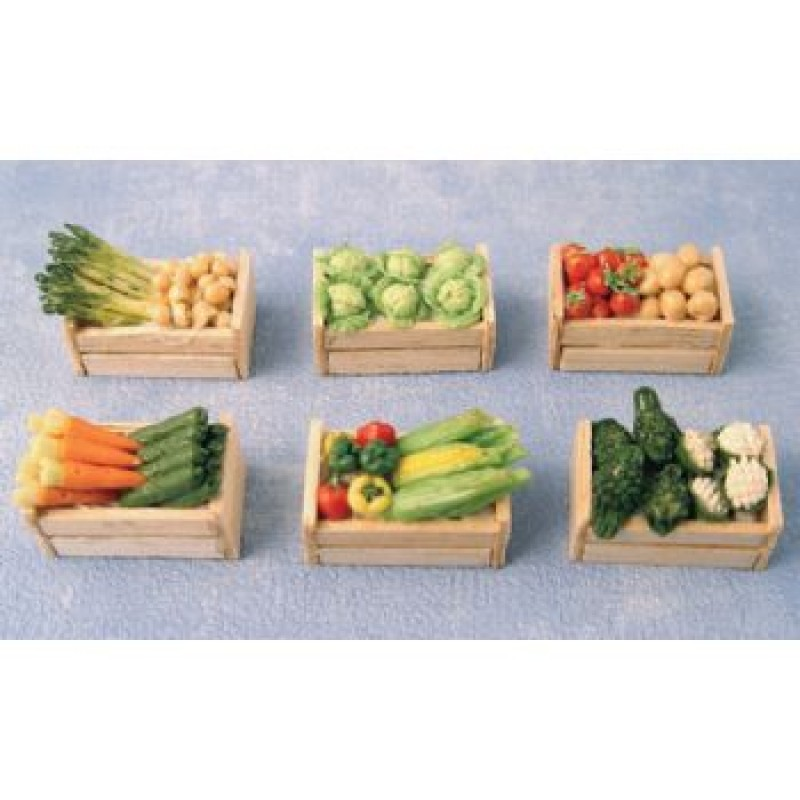 Assorted Vegetables in Wooden Crate, 6 pack
