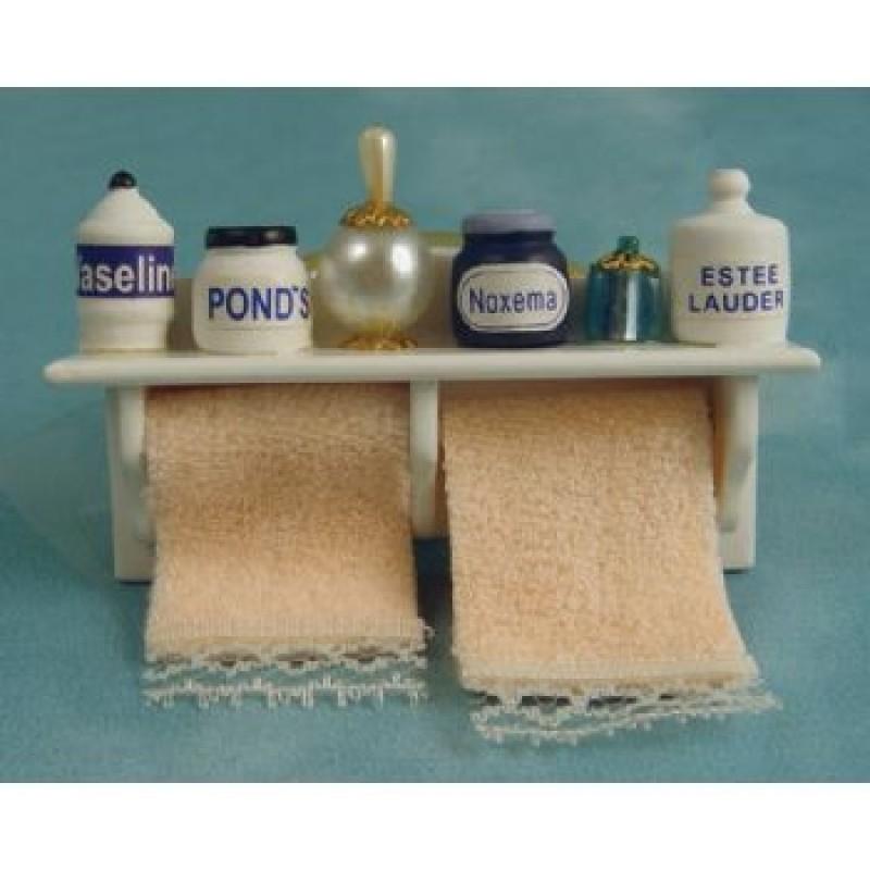 Long Bathroom Shelf & Towels