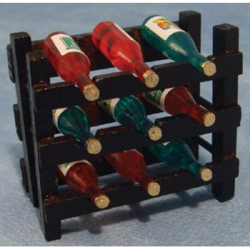 Wood Wine Rack and 9 Bottles
