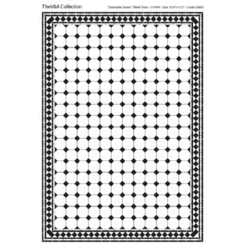 A3 Black & White Card Floor Tiles Diamante
