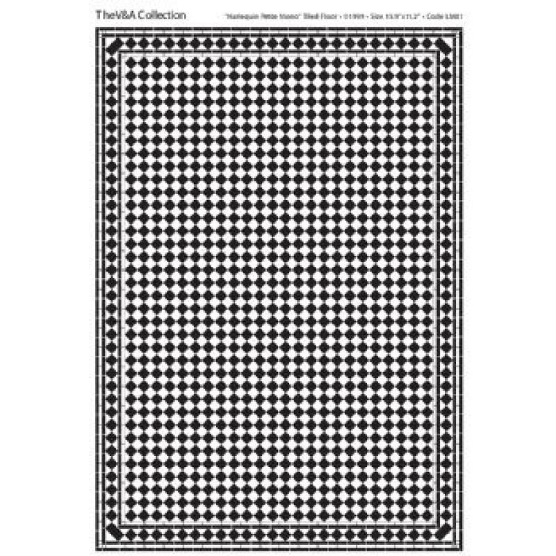 A3 Black & White Card Floor Tiles Harlequin Petite