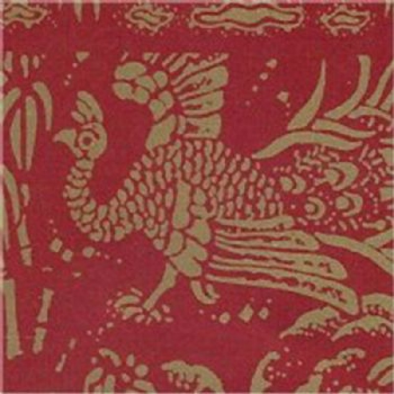 A3 Fine Qual Peacocks Gold On Red Paper