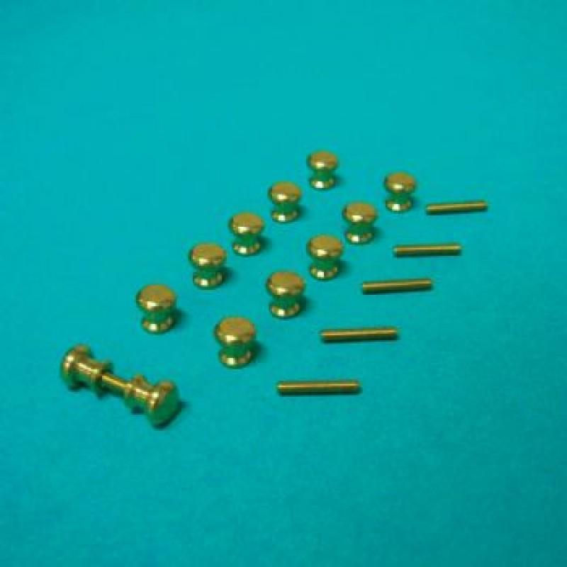 12 Brass Knobs & 6 Threads