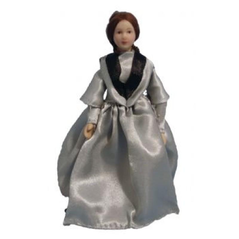 Victorian Lady in Grey Dress Doll
