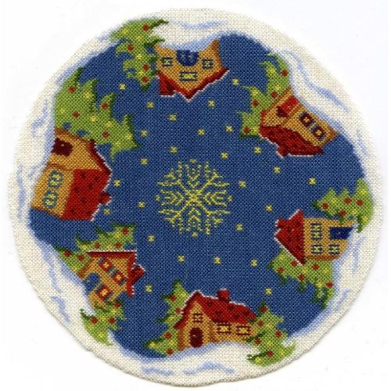 Snowy Village Dolls' House Needlepoint Christmas Tree Mat Kit