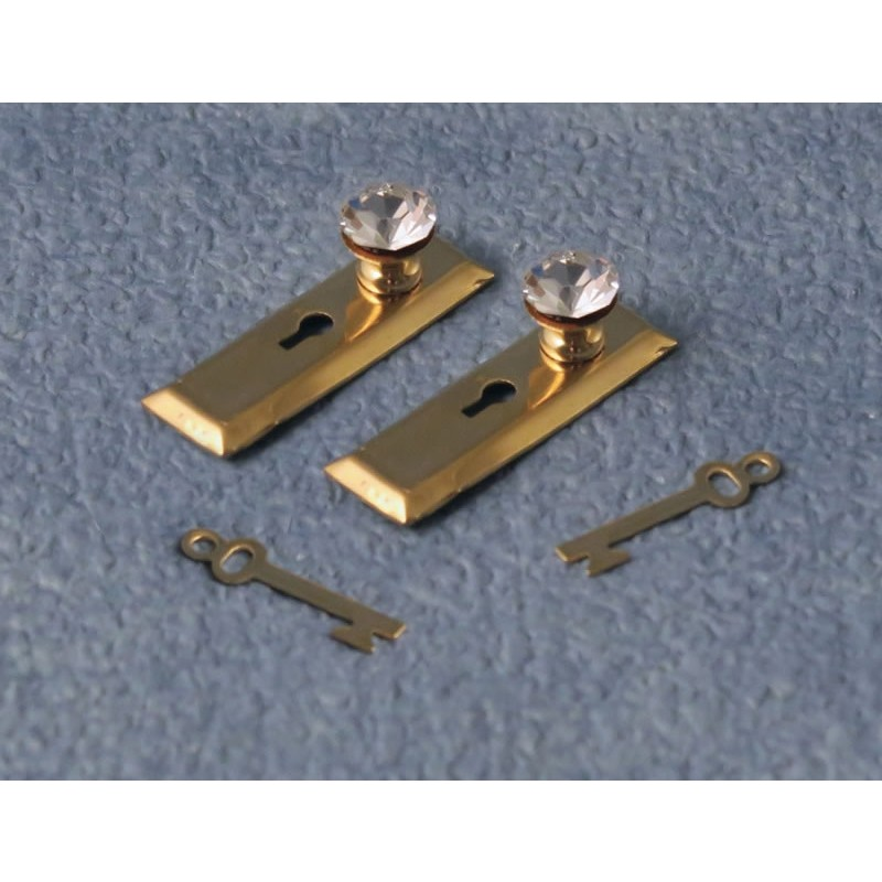 Crystal Knob, Square Plate & Key Set, 2 Pack