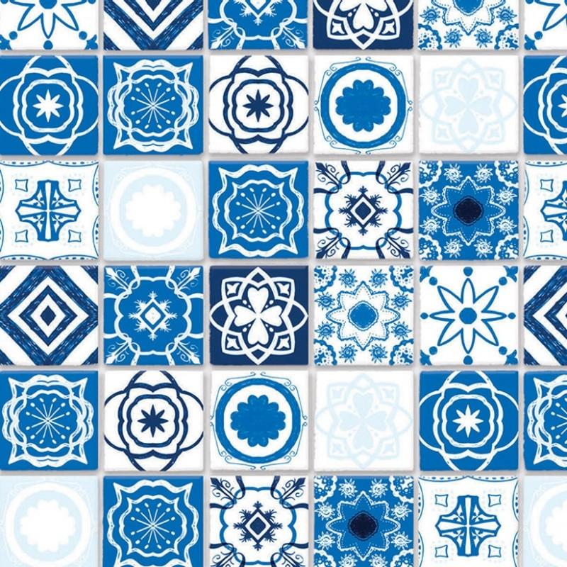 Embossed Blue Mediterranean Tiles A3