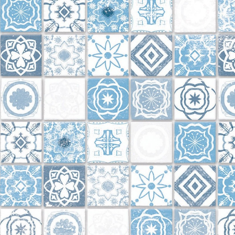 Embossed Antique Azure Mediterranean Tiles A3