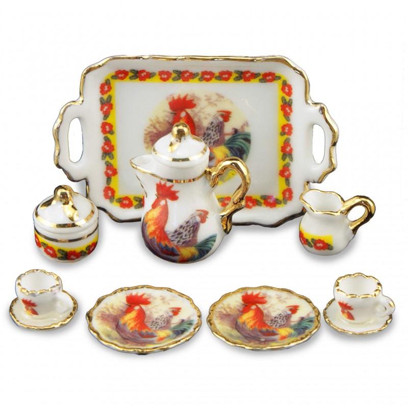 Cockerel Tea Set, 11 Pieces