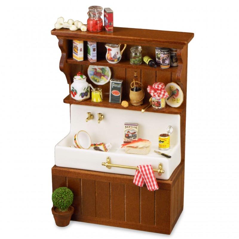 Decorated Brown Wood Kitchen Sink