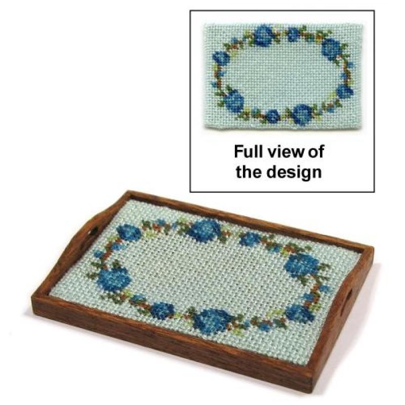 Flower Ring (blue) Dolls' House Needlepoint Tray Cloth Kit