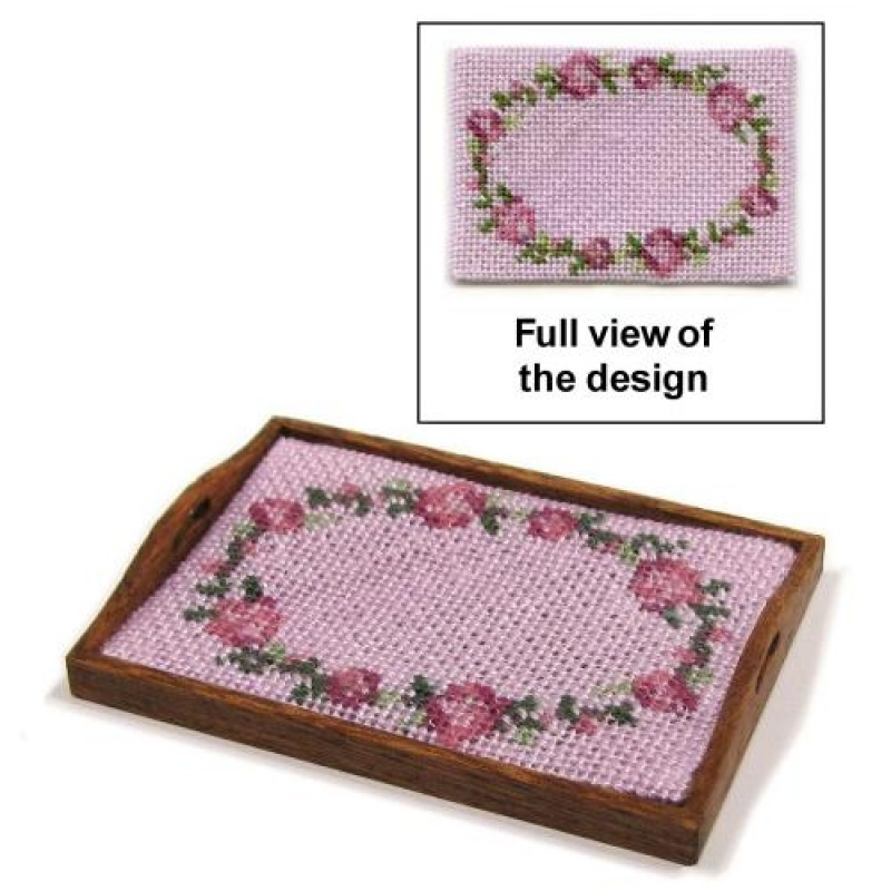 Flower Ring (pink) Dolls' House Needlepoint Tray Cloth Kit